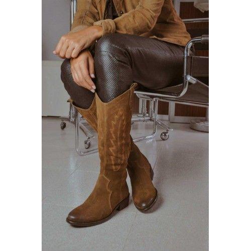 Hoher Lederstiefel mit Cowboy-Gravur Zerimar - 1