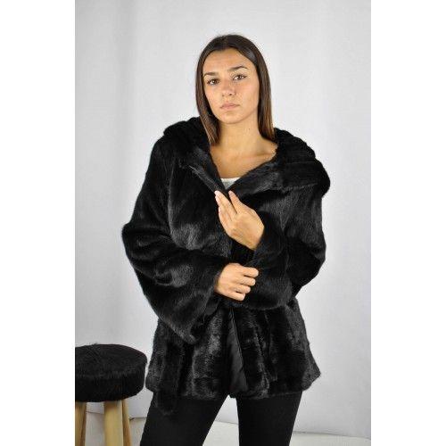 Schwarze Jacke mit Kapuze und Nerzgürtel Zerimar - 2