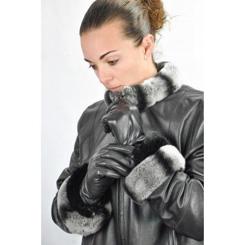 Damen Lederhandschuhe mit Fellband Zerimar - 1