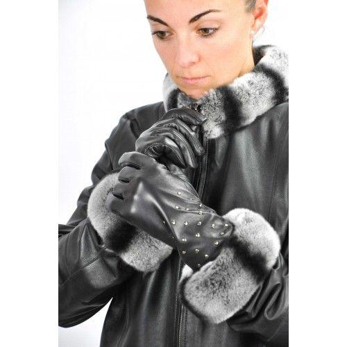 Nietenbesetzte Lederhandschuhe für Damen Zerimar - 2