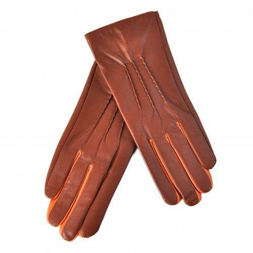 Braune Lederhandschuhe mit orangem Detail Zerimar - 1