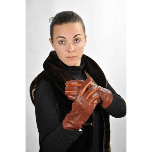 Braune Lederhandschuhe mit orangem Detail Zerimar - 2