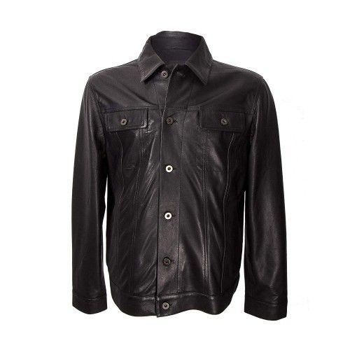 Lederjacke für Herren mit schwarzem Knopfverschluss vorne Zerimar - 1