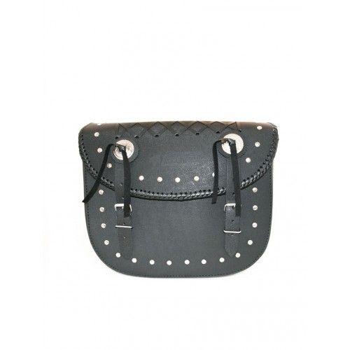 Doppelte Satteltaschen für schwarzes Ledermotorrad Kenrod - 1