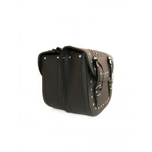 Doppelte Satteltaschen für schwarzes Ledermotorrad Kenrod - 2