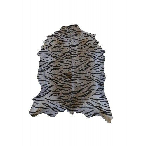 Natürlicher Ziegenlederteppich 100x75 cm bedruckt mit Tigerimitat Zerimar - 1
