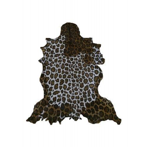 Natürlicher Ziegenlederteppich 100x80 cm bedruckt mit Leopardenimitat Zerimar - 1