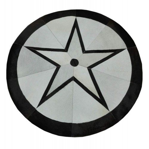 Patchwork Teppich Kuhfell 118 cm Durchmesser Zerimar - 1