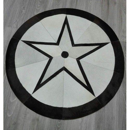 Patchwork Teppich Kuhfell 118 cm Durchmesser Zerimar - 2