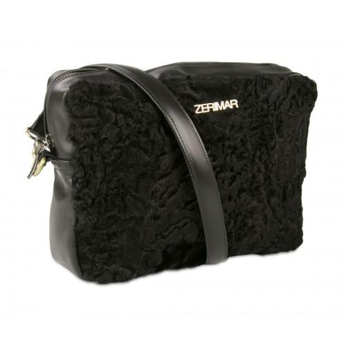 Tasche CRUELLA aus Nappaleder und Astrakan 20x26x6,5 cm Zerimar - 1