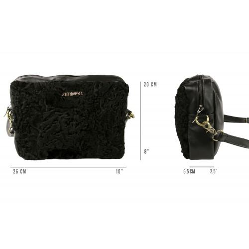 Tasche CRUELLA aus Nappaleder und Astrakan 20x26x6,5 cm Zerimar - 2